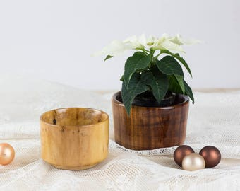 Set of 2 Turned Wooden Bowls - Plumwood - varnished
