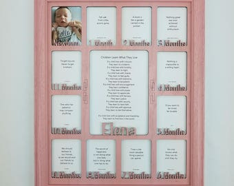 Baby First Year Frame / 12 Month Frame - Personalized with any Name - 10 Color Options (Shown in Pink Frame) - Nursery Decor - 11x14