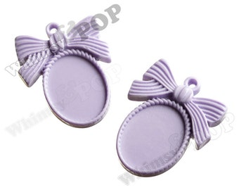 2 - Soft Purple Resin Cameo Setting, Bow Cabochon Setting, Cameo Blank, 44mm x 32 mm (fits 25mm x 18mm Oval Cabochon) (R5-159)