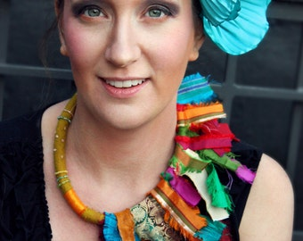 Gypsy Caravan Couture Upcycled Bohemian Sari Necklace  -  (Made to Order) - Bohemian Fashion - Fair Trade Recycled