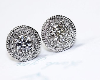 14k Round Diamond Halo Stud Earrings, Halo Round Diamond Studs Diamonds 1.35 ct Total Weight Push Backings