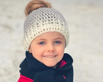 Kids Ombre Messy Bun Hat- Crochet Messy Bun Hat- Messy Bun Beanie- Mommy and Me Messy Bun Hat- Mommy and Me Ponytail Hat Mommy and Me outfit