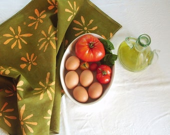 olive green and soft orange daisy towel. made to order