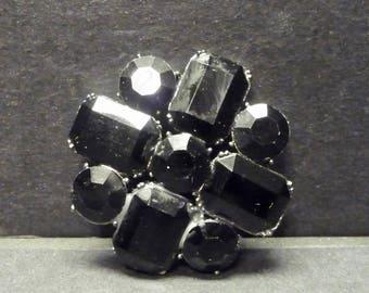 Jet Black Stones Estate Jewelry Pin/Brooch- Striking