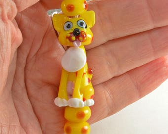 CAT yellow and red dotty cat lampwork glass bead, whimisical lampwork focal bead, Izzybeads SRA