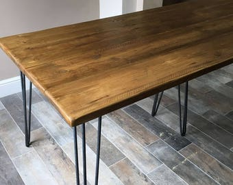 THE JULES - Handmade reclaimed dining table with industrial style hairpin legs