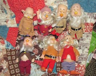 Vintage SNOW White 7 DWARFS Doll Toys