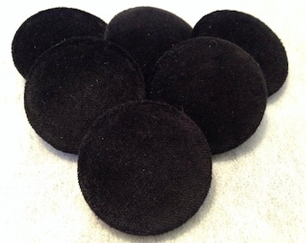 Black Buttons, Velvet Buttons, Fabric Covered Buttons, Large Buttons, Shank, or, Loop Back Buttons, Coat Buttons, Upholstery Buttons