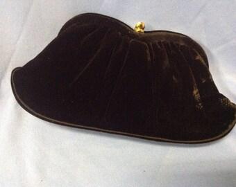 Vintage L & M black velvet clutch purse