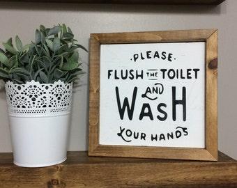 Bathroom sign // Wash Your Hands & Flush the Toilet bathroom wood framed sign // bathroom wall decor // bathroom decor // bathroom rules