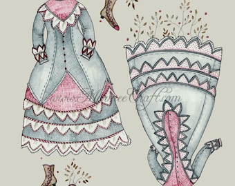 "MarmeeCraft dress art print, ""The Sprouted Frock Circa 1870"""