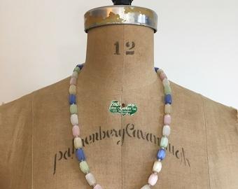 Vintage Deco Satin Glass Necklace Pastel Cotton Candy Pink Blue Green