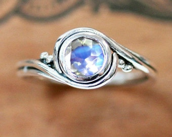Moonstone ring sterling silver, moonstone engagement ring, rainbow moonstone ring, alternative engagement ring, swirl ring pirouette custom