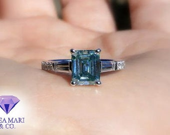 Moissanite and Diamond Engagement Ring | 18kt | 2.27ctw Aqua Blue Moissanite and Diamond Ring | Size 6