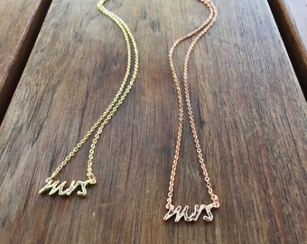 Mrs. Necklace | Dainty Mrs. Necklace | Rose Gold Mrs. Necklace