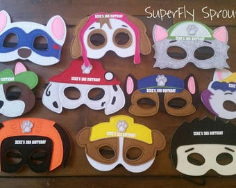 Ready to ship!  Personalized Paw Patrol Mask Set of 10 Masks! Birthday Party Favor! Pick any number or mixture!