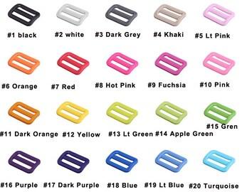 """25mm 1"""" Tri-Glide Slider Adjustable plastic Buckle 3 bar slider webbing strap 20color pick"""