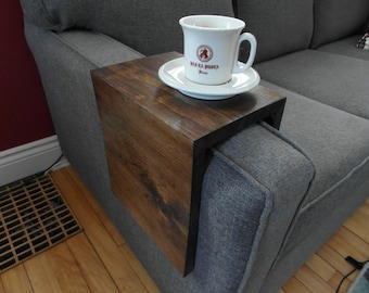 Custom-made Wood Couch Arm Wrap (shelf/table), for square sofa arms
