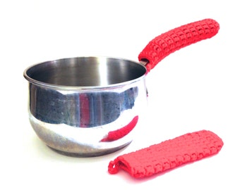 Scarlet Red Crocheted Pot Handle Covers-Pair