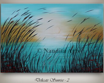 Turquoise Wall Art, Acrylic Painting, Landscape Painting, turquoise painting, Wall Decor, Large Painting, Canvas Art, Wall Art by Nandita