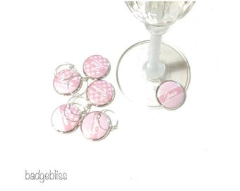 Wine glass charms  pink daisy personalised wine glass charms
