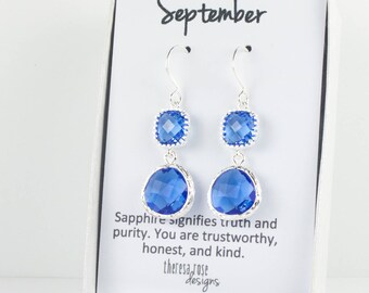 September Birthstone Silver Earrings, Long Sapphire Silver Earrings, September Sapphire Earrings, September Birthstone Jewelry
