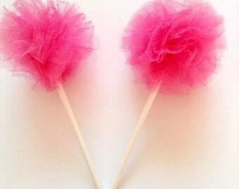 Hot Pink Tulle Poms- Tulle Poms- Hot Pink Poms