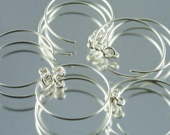 handmade sterling silver earwires - open hoop style - pack of five pairs