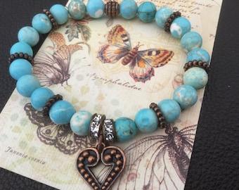 Turquoise Bracelet Heart Bracelet Boho Chic Western Cowgirl Jewelry