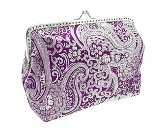 clutch purse bridal bag wedding clutch bag purpure purse bridesmaid clutch bag chain brocade bride wedding women's silver purpure 1375