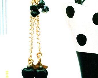Black Obsidian Heart Earrings, Obsidian Earrings, Charm Earrings, 9ct Gold Plated, Long Chain Earrings