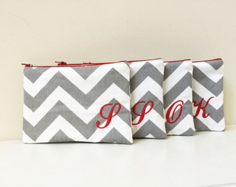 Set of 4 - Will you be my Bridesmaid - Maid of Honor - Cosmetic bag - Wallet - Bridesmaid bag - Monogram makeup bag - Make up pouch - Medium