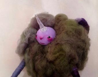 Creepy cute ooak art doll - one of a kind- unique whimsical decor - fiber art - magical creature