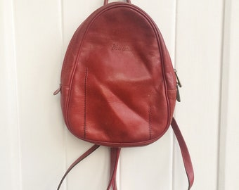 Cute little red Leather Backpack
