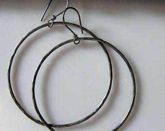 2 inch Hoop Earrings Black Hoop Earrings Sterling Silver Hoop Earrings Black Hoops Black Earrings Handmade Hammered Silver Earrings Unique