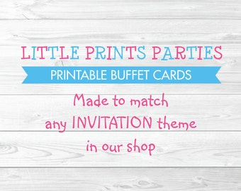 Printable Buffet Tent Cards Made to match any invitation in shop