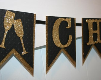 Cheers Banner - New Years Banner - New Years Eve Decor - Glitter Banner - Black and Gold