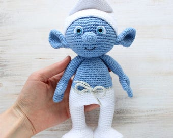 Crocheted Smurf and Smurfette Pair