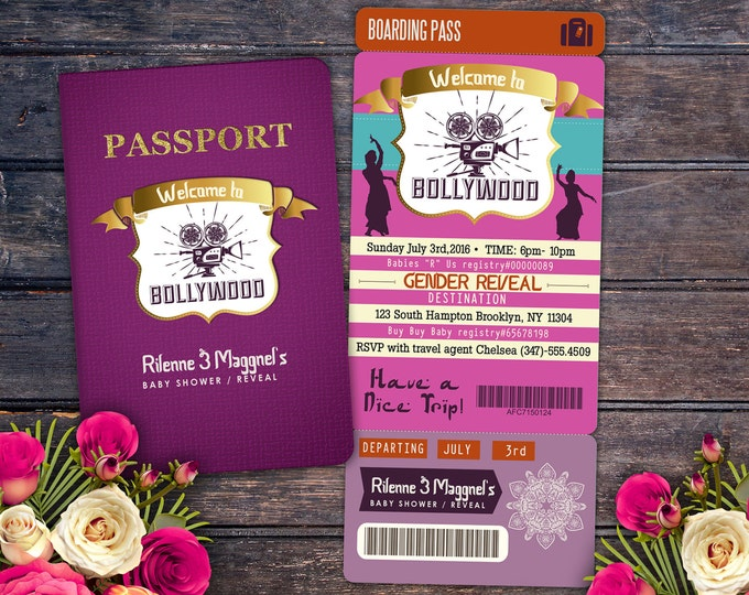 PASSPORT and TICKET baby shower invitation! Girl  birthday party invitation- travel, Bollywood, Indian- Moroccan birthday-Digital files Only