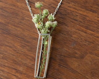 Cuboid Bouquet Sterling Silver Necklace