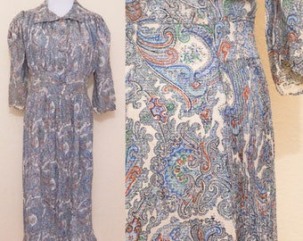 1930's silk paisley dress