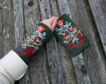 Hand knitted and felted fingerless gloves