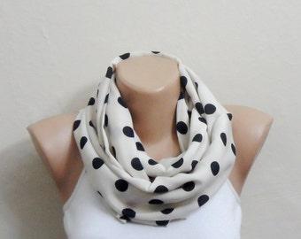 black scor cream infinity scarf  cotton fabric loop scarf