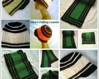 0008 Mens Visor Pattern,Mens Falling Leaves Pattern Set,Boys Scarf Pattern,Mens Winter Set,Mens Hat by CarussDesignZ