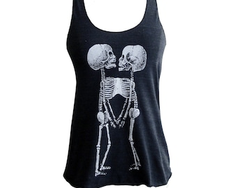 Skeleton Tank Top -  Skeletal Siamese Twins printed on Tri-Blend Tank - Available in sizes S, M, L