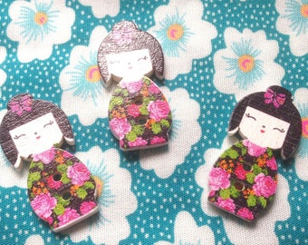 Buttons wood Kokeshi (x 3) - 2 holes for sewing Scrapbooking creative 3x1cm