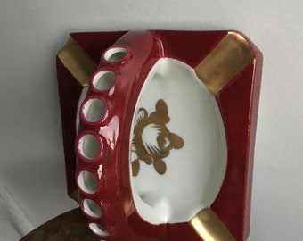 French Vintage Ashtray with Cigarette Holder in painted in gold leaf