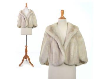 Wedding fur, White mink shrug, white fur coat, wedding coat, mink cape, bridal fur, real fur shrug, vintage clothing