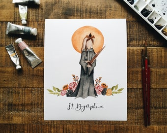 Saint Dymphna Portrait Print - Watercolor Saint Dymphna portrait - Saint Portrait - Catholic Saint - Confirmation Gift - Catholic Art