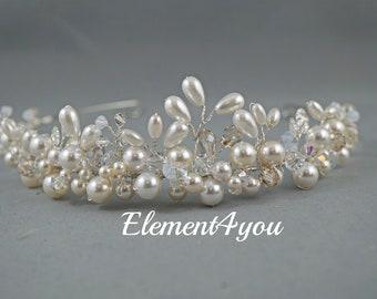 Bridal tiara, Pearls crystals tiara, Hair accessory for bride, Wedding headpiece, Ivory white clear champagne crystals, Hair vines, Handmade